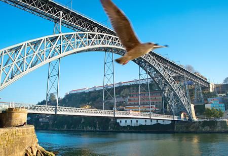 dom: Dom Luis I pont sur la rivière Douro à Porto, Portugal. Banque d'images