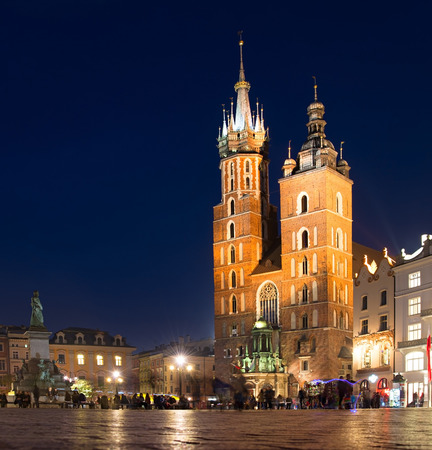 Main Market Square in the evning in Krakow, Poland