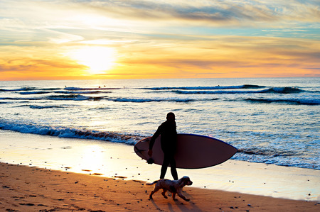 paddleboard: Silhouette of a surfer with a dog walking at sunset on the beach