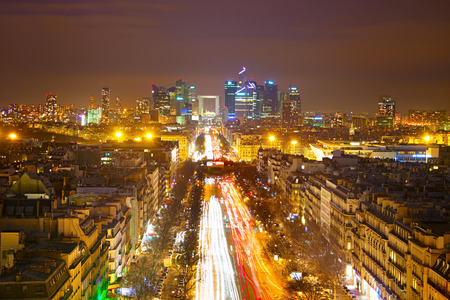 Skyline of Paris. View from Arc de Triomphe towards Paris business district Defense photo