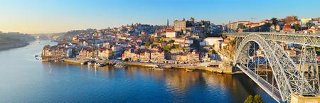 luis: Panorama of Porto with famous Dom Luis bridge. Portugal Stock Photo