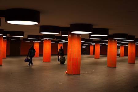 underground passage: BERLIN, GERMANY - NOV 11, 2014: Underground passage at the ICC in Berlin. The Internationales Congress Centrum Berlin is one of the largest conference centres in the world