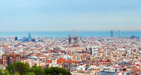 barcelona: Wide panoramic view of Barcelona. Stock Photo