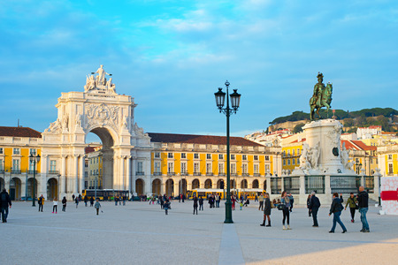 settled: LISBON, PORTUGAL - DEC 24, 2014: Commerce Square in Lisbon. It is one of the most important squares and was settled the land where the Royal Palace in Lisbon for more than 200 years