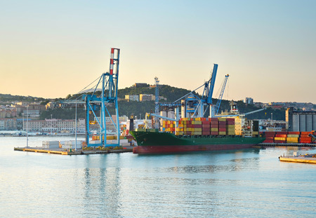 container port: Cargo ship in industrial commercial port. Ancona, Italy