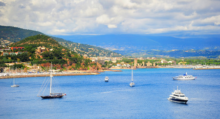 azur: Sea bay panorama with luxury yachts and boats. French Riviera, Azure Coast or Cote d Azur, Provence, France Stock Photo