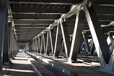 Interior of metal bridge in the day. Kiev, Ukraine Foto de archivo