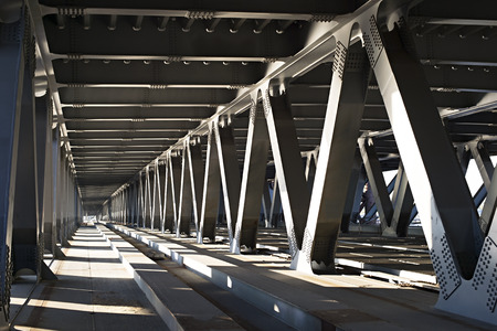 Interior of metal bridge in the day. Kiev, Ukraine Stock Photo