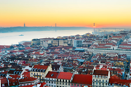 Lisbon skyline in the beautiful sunset. Porugal