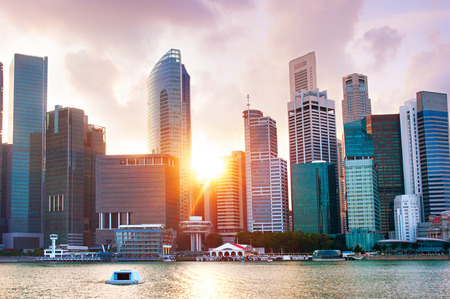 singapore city: Colorful Singapore Downtown Core at sunset
