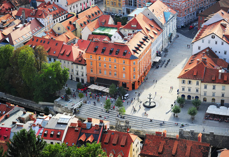 ljubljana: Top view of colorful Ljubljana Old Town. Slovenia Stock Photo