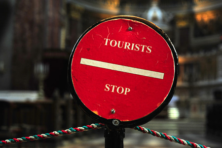 tourists stop: Tourists stop sign inside the church in Budapest, Hungary
