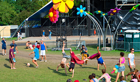 revellers: BUDAPEST, HUNGARY - AUGUST 13, 2014: Revellers having fun on Sziget music festival. Sziget is one of biggest festivals in Europe Editorial