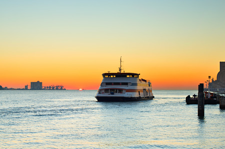 ferries: Ferry boat from Lisbon to Almada city at sunset. Portugal