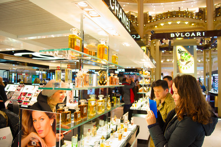 lafayette: PARIS, FRANCE - JAN 17, 2015: People taking photo at Lafayette department store in Paris, France. The Galeries Lafayette most famous luxury store in the world since 1895. Editorial