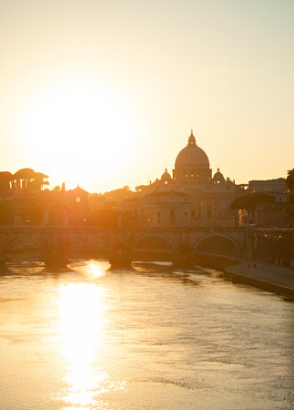 foursquare: Sunset view of Tiber river and St. Peters cathedral. Vatican, Rome