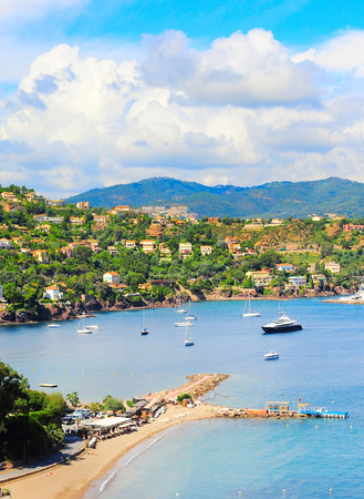 azur: Luxury beach, yachts and boats. French Riviera, Azure Coast or Cote d Azur, Provence, France