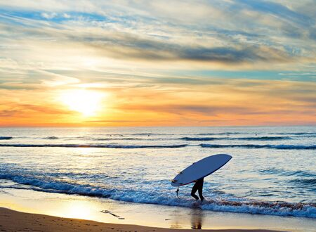 paddle: Man carrying surfboard on the beach at sunset. Sagres, Algarve region, Portugal