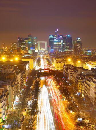 la defense: View from Arc de Triomphe towards Paris business district Defense Stock Photo