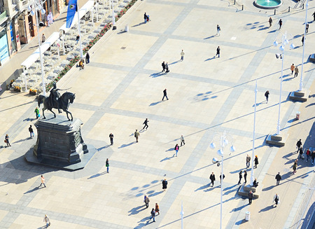 zagreb: People at Ban Jelacic Square in Zagreb , Croatia Editorial