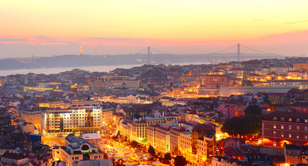 lisboa: Lisbon city center at sunset. Portugal