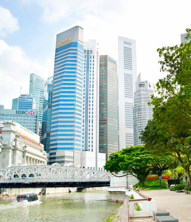 SINGAPORE - MARCH 05, 2013: Downtown Core of Singapore. The Downtown Core is a 266-hectare urban planning area in the south of the city-state of Singapore. Editorial