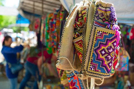 sold small: Colorful bags at Dry Bridge market in Tbilisi, Georgia. Dry bridge today is most famous flea and souvenir market in Georgia