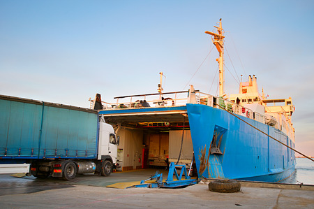 ferries: Loading ferry boat in the port of Crimea. Ferry between port Crimea, Kerch, and port Caucasus. Stock Photo