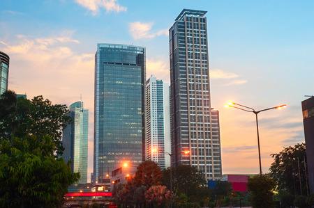 Jakarta downtown at beautiful sunset. Jawa, island, Indonesia