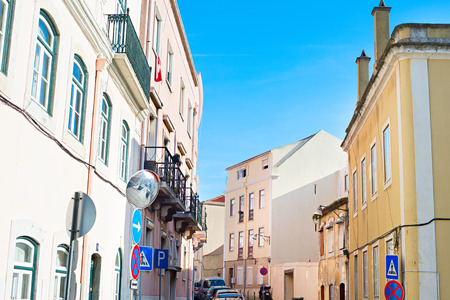 chiado: View of traditional Lisbon street in the day. Portugal Stock Photo