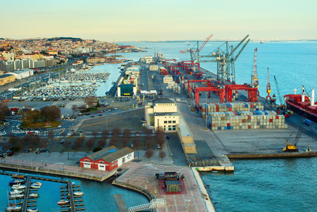 Overview of Lisbon harbor and industrial port. Portugal
