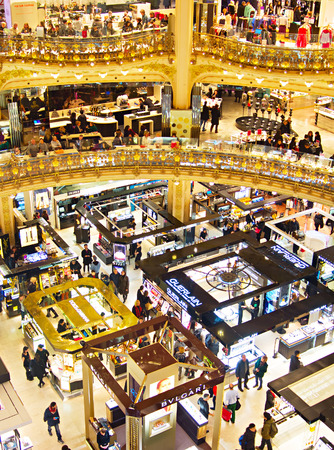 lafayette: PARIS, FRANCE - JAN 17, 2015: Old  part of Lafayette department store in Paris, France. The Galeries Lafayette most famous luxury store in the world since 1895. Editorial