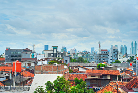 Architecture of Jakarta from suburb to downtown. Indonesia