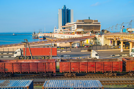 waterfront: View of Odessa sea terminal. Railroad and trucks on foreground. Ukraine Editorial