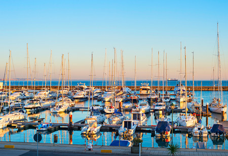 portugal: Yachts, sail boats and motorboats in marina of Cascais, Portugal