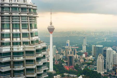 twin tower: View from Petronas Twin Tower to Kuala Lumpur. Menara TV tower in center Stock Photo