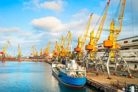 sea seaport: Lots of cranes in seaport of Odessa at sunset, Ukraine Editorial