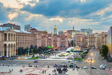 maidan: View of Maidan Nezalezhnosti Square at sunset. Kiev, Ukraine