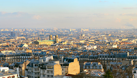 sacred heart: Skyline of Paris, France. View from Sacred Heart Basilica of Montmartre (Sacre-Coeur).