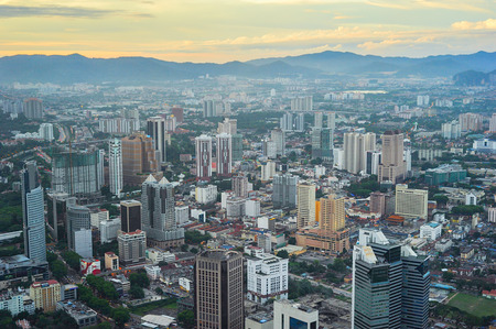 View from above on Kuala Lumpur at sunset. Malaysia