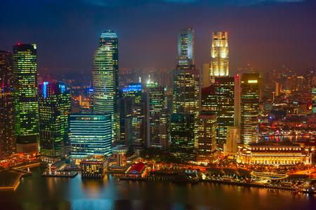 city night: Night aerial view of Singapore Downtown Core Stock Photo