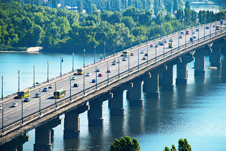 dnepr: View of Paton bridge across the Dnepr river. Kiev, Ukraine Stock Photo