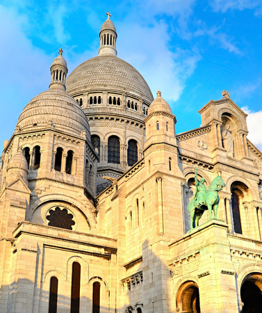 sacred heart: The Basilica of the Sacred Heart of Jesus (Basilique du Sacre-Coeur) on Montmartre hill, Paris Stock Photo