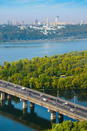 lavra: Top view on Paton bridge and Kyiv Pechersk Lavra. Ukraine Editorial