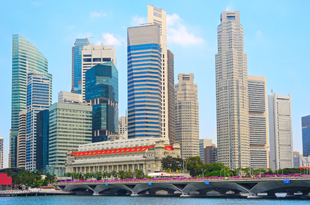 シンガポールのダウンタウン コア - シンガポールの金融地区 報道画像