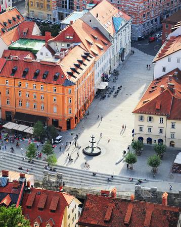 slavs: Top view of colorful Ljubljana Old Town. Slovenia Editorial