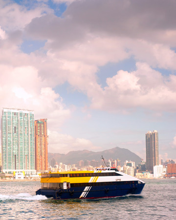 sea life centre: Ferry from Macao in Hong Kong harbor. View of Kowloon island