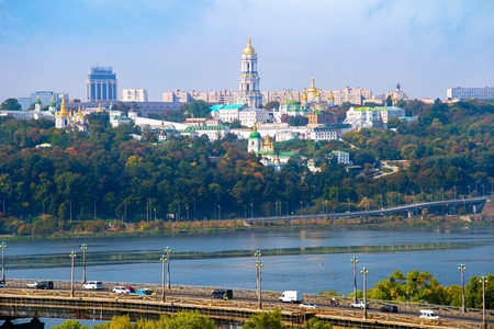Paton bridge and Kiev Pechersk Lavra on the background. Ukraine