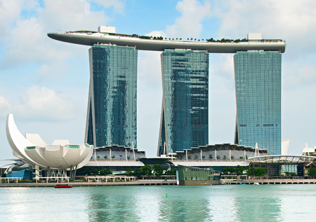 standalone: SINGAPORE - MARCH 03, 2013: Marina Bay Sands Resort in Singapore. It is billed as the worlds most expensive standalone casino property at S$8 billion Editorial