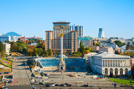 Aerial view of Independence Square (Maidan Nezalezhnosti) in Kiev, Ukraine Sajtókép